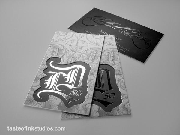 Lethal-Dose-50-die-cut-unique-business-cards-custom-silk-silver-foil.jpg